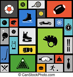 Color tile with sport icons