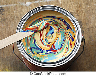 Color tin can on old wood background. Redecoration and...