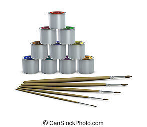 color tins and paintbrushes