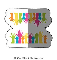 color together hands up icon