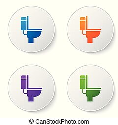 Color Toilet bowl icon isolated on white background. Set color icon in circle buttons. Vector Illustration
