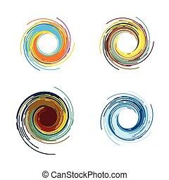 color, tornado, resumen, vector