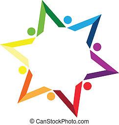 color, trabajo en equipo, libros, estrella, logotipo