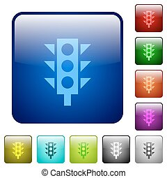 Color traffic light square buttons