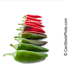 Color Transition with a Hot Peppers, Isolated on White