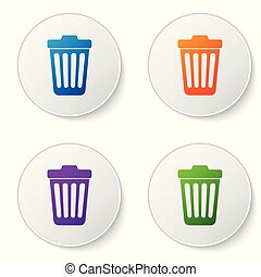 Color Trash can icon isolated on white background. Garbage bin sign. Set color icon in circle buttons. Vector Illustration