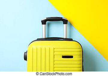 Color travel bag on two tone background