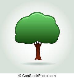 Color Tree Icon. Vector Illustration.
