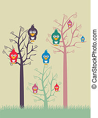 color trees with birds