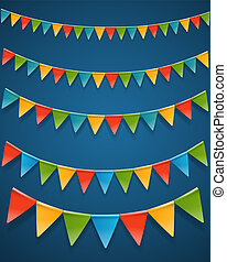 Color triangle flags garlands on dark background. Vector clipart