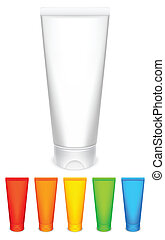 Color tubes of cream.