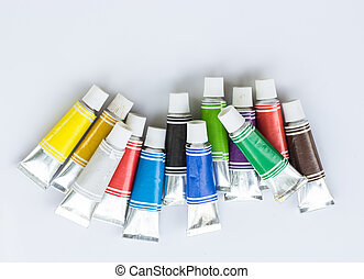 Color tubes on white background