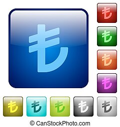 Color turkish lira sign square buttons