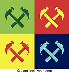 Color Two crossed hammers icon isolated on color backgrounds. Tool for repair. Flat design. Vector Illustration