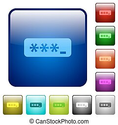 Color typing password square buttons