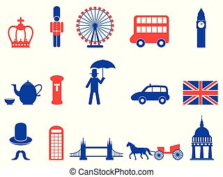color UK england british icons set,vector