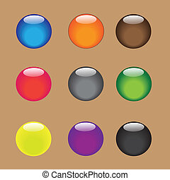 color, vector, esfera, con, brillante, y, brillante