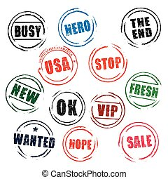 Color vector grunge stamps BUSY, OK, STOP, WANTED