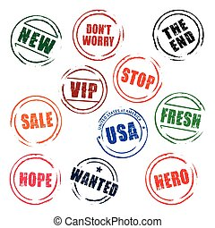 Color vector grunge stamps STOP, FREE, SALE, USA, NEW, HOPE