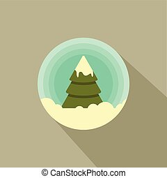 Color vector icon of a Christmas tree in the snow.