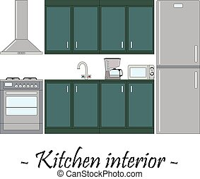 Color vector illustration of a kitchen interior.
