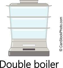 Color vector illustration of the double boiler.