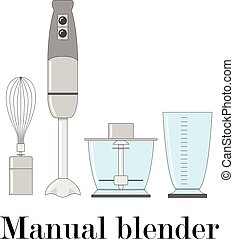 Color vector illustration of the manual blender.