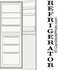 Color vector illustration of the refrigerator.