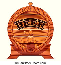 color vector illustration with a cask of beer