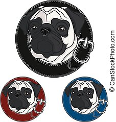 Color vector image of a pug wearing a collar