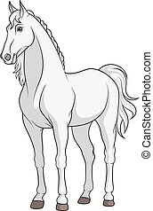 Color vector image of a white horse.
