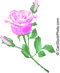 pink rose - Color vector image of flower (pink rose) using...