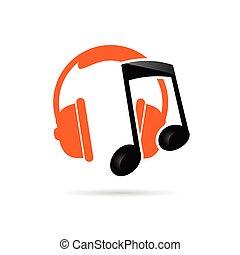 color, vector, música, auricular