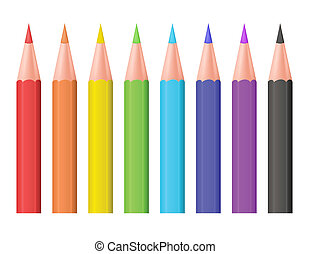 color, vector, pencils., illustration.