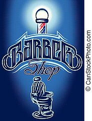 color vector poster in retro style for Barbershop with inscription and armchair