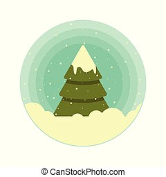 Color vector rounded icon of a Christmas tree in the snow.