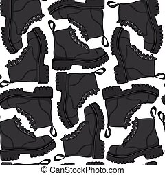 Color vector seamless pattern with black boots