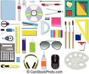 Color vector set of office supplies.