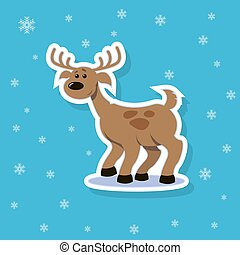 vector sticker illustration of a flat art cartoon deer with spots