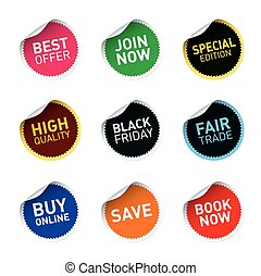 Color vector stickers SAVE, FAIR TRADE, JOIN NOW, BEST OFFER