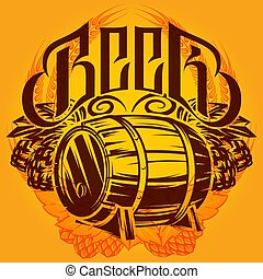Color vector template on the alcohol theme with a barrel, hops, spikelets