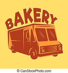 color vector template van for delivery bakery