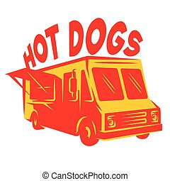 color vector template van for delivery hot dog