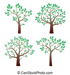 Color vector tree with leafs.