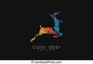 color, venado, deer., animal, logotipo, logo., design.