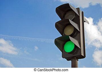 color, verde ligero, tráfico