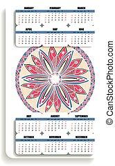color vertical yoga calendar