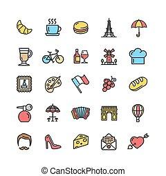 color, viaje, francia, vector, delgado, señales, línea,...
