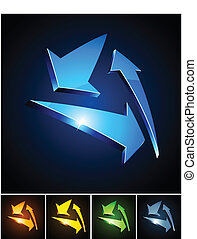 Color vibrant emblems. - Vector illustration of triangle...