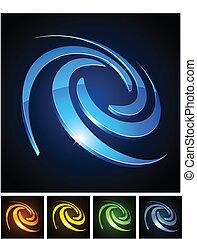 Color vibrant emblems. - Vector illustration of swirl shiny...